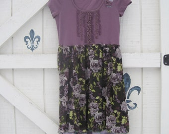 Boho dress, Romantic dress, XS-S, lavender plum floral, vintage look, vintage look dress, cowgirl gypsy dress, clothing by Shaby Vintage