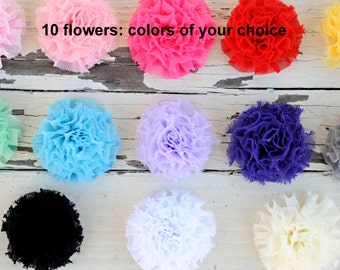 "Mini Puff Flowers - Chiffon Puff Flowers - Fabric Flowers - Set of 10 - You Pick Colors - 2.25"" Flower - Wholesale Fabric Flower Set"