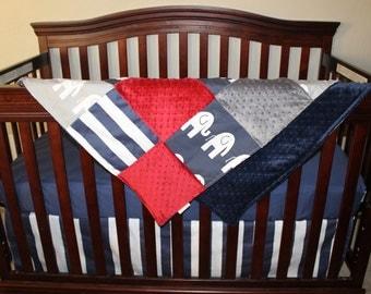 Baby Crib Bedding - Gray Ele, Navy Ele, Crimson, and Horizontal Navy Stripe Crib Bedding Ensemble with Patchwork Blanket