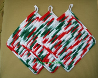 Christmas Peppermint Cotton Wash Cloths (Set of 3) - CLEARANCE - Ready to Ship