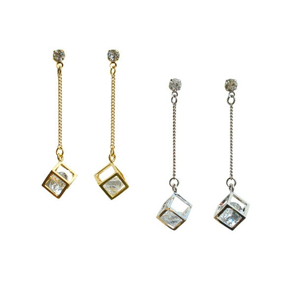 Crystal in the Box Dangle Earring
