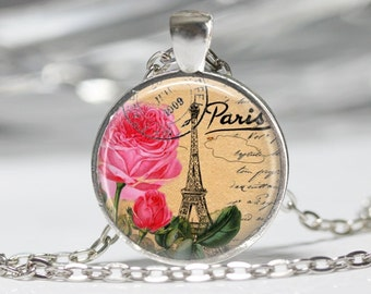 Paris Necklace Eiffel Tower Necklace Glass Pendant Necklace Paris Jewelry Paris Vintage Necklace