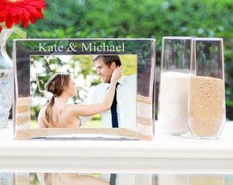 SALE!!!  Personalized Wedding Sand Ceremony Photo Vase Unity Set Alternative to Unity Candle Engagement Shower Gift