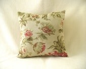 "Pillow measures 16"" x 16"", comes with Insert, Soft sage green with sage leaves and red flowers, Accent Decor Fabric"