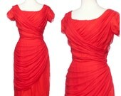 vintage 50s RED HOT dress // Draped Gathered Chiffon Wiggle Dress Medium Lilli Diamond