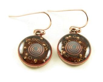 Orgone Energy Earrings - Carnelian and Copper - Small Dangle Earrings - Positive Energy Generator - Artisan Jewelry