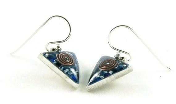 Orgone Energy Dangle Earrings - Small Triangle Drops in Antique Silver with Lapis Lazuli - Orgone Energy Jewelry - Artisan Jewelry