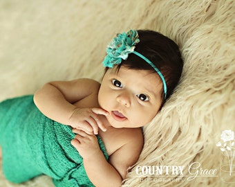 Shabby Rosette Headband...Newborn Headband...Baby Girl Headband...Baby Bows...Photo Prop...Rosette...Teal...Little Girl Headband
