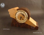 Art Deco clock with wood dial.  MC44 with walnut burl.  Free Shipping.