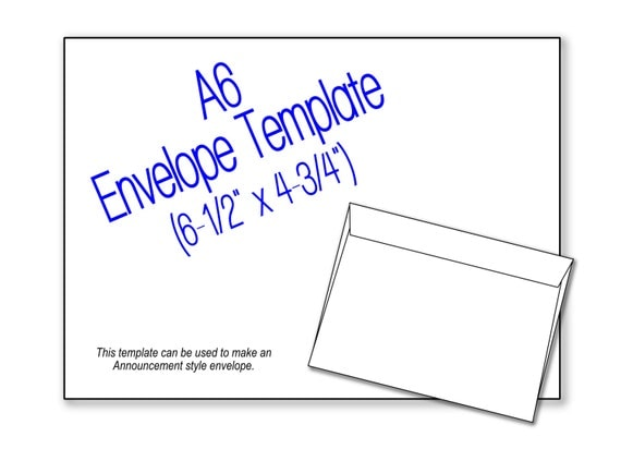 items similar to a6 envelope 6 1 2 x 4 3 4 announcement envelope template diy digital. Black Bedroom Furniture Sets. Home Design Ideas