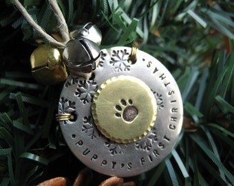 Holiday Ornament - Puppy's First Christmas - Kitten's First Christmas - Nickel Silver - Brass - Aluminum Backer - Jingle Bells -