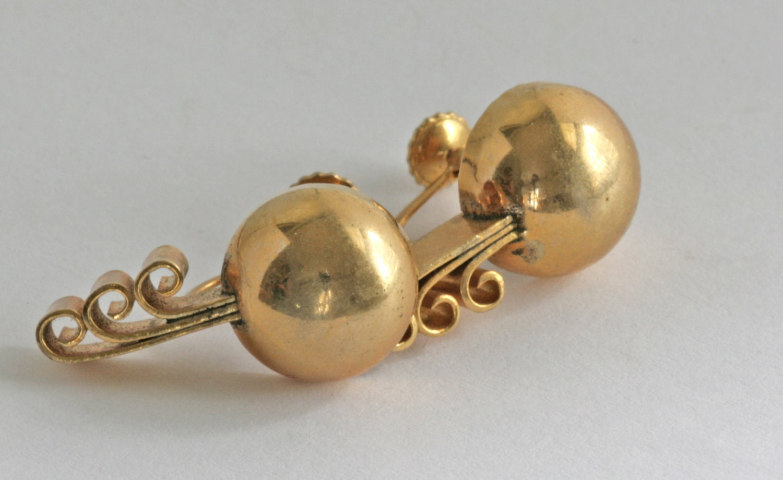 deco brass screw back earrings vintage estate jewelry. Black Bedroom Furniture Sets. Home Design Ideas