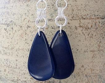 Tagua Nut Jewelry - Tagua Earrings - Silver Dangle Earrings - Blue Teardrop Earrings