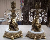 Pair of Brass Cherub Candle Holders with Large Tear Drop Crystals and Marble Base by L&L WMC Dated 1970