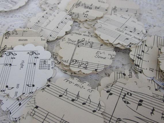 200 Vintage Music Paper Cuts, DIY Paper Tags, Scrapbooking Journaling Spot, DIY weddings, Gift Tags, vintage Music sheets paper cuts, 24P