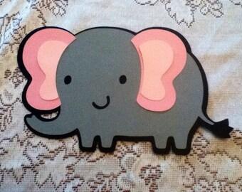 Cute Elephant 5 Inch Die Cuts  Set of 5