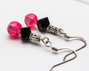 Glass Bead Earrings, Two Tone Jewelry, Dangle Earrings, Black and Pink Earrings, Glass Bead Dangles, Silver and Black, Cute Bead Drops