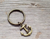 Antiqued Brass Nautical Anchor Keychain, Father's Day, Sailor Key Chain, Bronze Twist Rope Ship Anchor Charm Key Ring