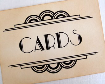 Gatsby Cards Wedding Sign, Art Deco Cards Sign, Great Gatsby Card Box Sign, Old Hollywood Glamour, 1920s Wedding Sign, Matching Items