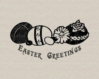 Easter Greetings Eggs Flowers Script Printable Digital Download for Iron on Transfer Fabric Pillows Tea Towels DT757