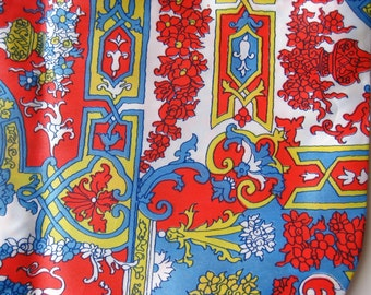 Vintage 60s Novelty Print Nylon Acetate Coat Dress Lining Fabric Remnant +5 Yards