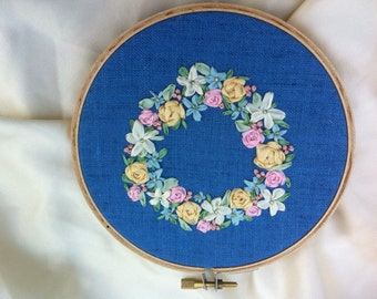 Silk Ribbon Embroidery, Flower Wreath Wall Hanging Hoop Art - by BeanTown Embroidery