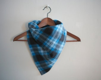 bandana scarf in blue plaid pattern unisex men women adults and children