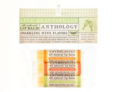 Sparkling Wine Lip Balm Set - All Natural - Orange Mimosa, Peach Bellini, Sweet Moscato - 3 Flavors