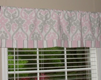 """Premier Prints Double Damask Pink Bella and Grey Valance with Striped Band 50""""x16"""" Pink Grey Gray White"""