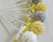 Cake Pops: Yellow and Gray Baby Shower Cake Pops Made to Order with High Quality Ingredients, 1 dozen