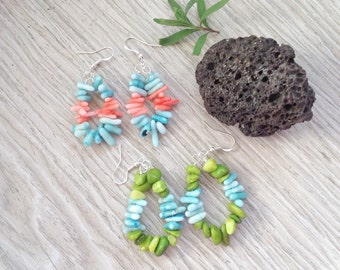 Coral Shell Earrings, Blue Pink, Blue Green, Summer Boho Jewelry, Dyed Coral,Ocean Inspired, Summer Colors