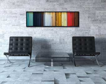 "Reclaimed Wood Art - Modern Wood Wall Art - ""Gradient"" - Wood Stripes in Red, Yellow, Brown, Teal - 16""x55"" - Wood Wall Art"