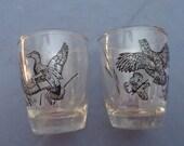 Black Duck and Bobwhite Quail Gold Trim Rim Shot Glasses