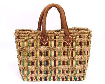 70s Woven Basket Purse Sisal and Leather Corn Husk Farmers Market Tote Bag