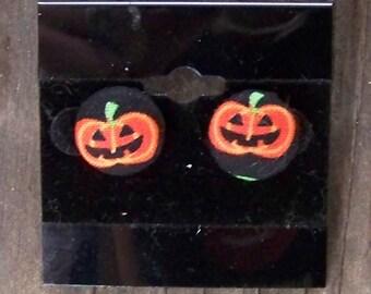 Pumpkin Button Earrings