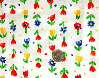 COTTON TULIP PRINT Fabric on White 43 inches wide