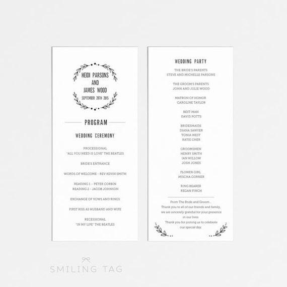 Printable Wedding Program Garden Wedding Ready to Print