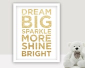 INSTANT DOWNLOAD  - Dream Big, Sparkle More -  baby girl  room quotes, xoxo print, hugs, kisses, girl, pink, nursery print