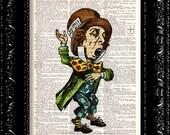 Alice In Wonderland - Mad Hatter - Vintage Dictionary Print Vintage Book Print Page Art Upcycled Vintage Book Art
