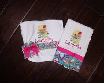 Boutique Tropical Mermaid themed Bib and Burp Cloth with Bows