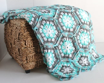 Afghan- Handmade Snowflake Hexagon Crochet Blanket  - Aqua, Grey, and White - Extra Long - Christmas in July SALE - 20 % off until July 31st