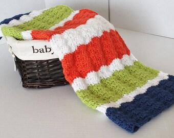 Crochet Baby Afghan - Stroller Blanket - Baby Boy or Girl