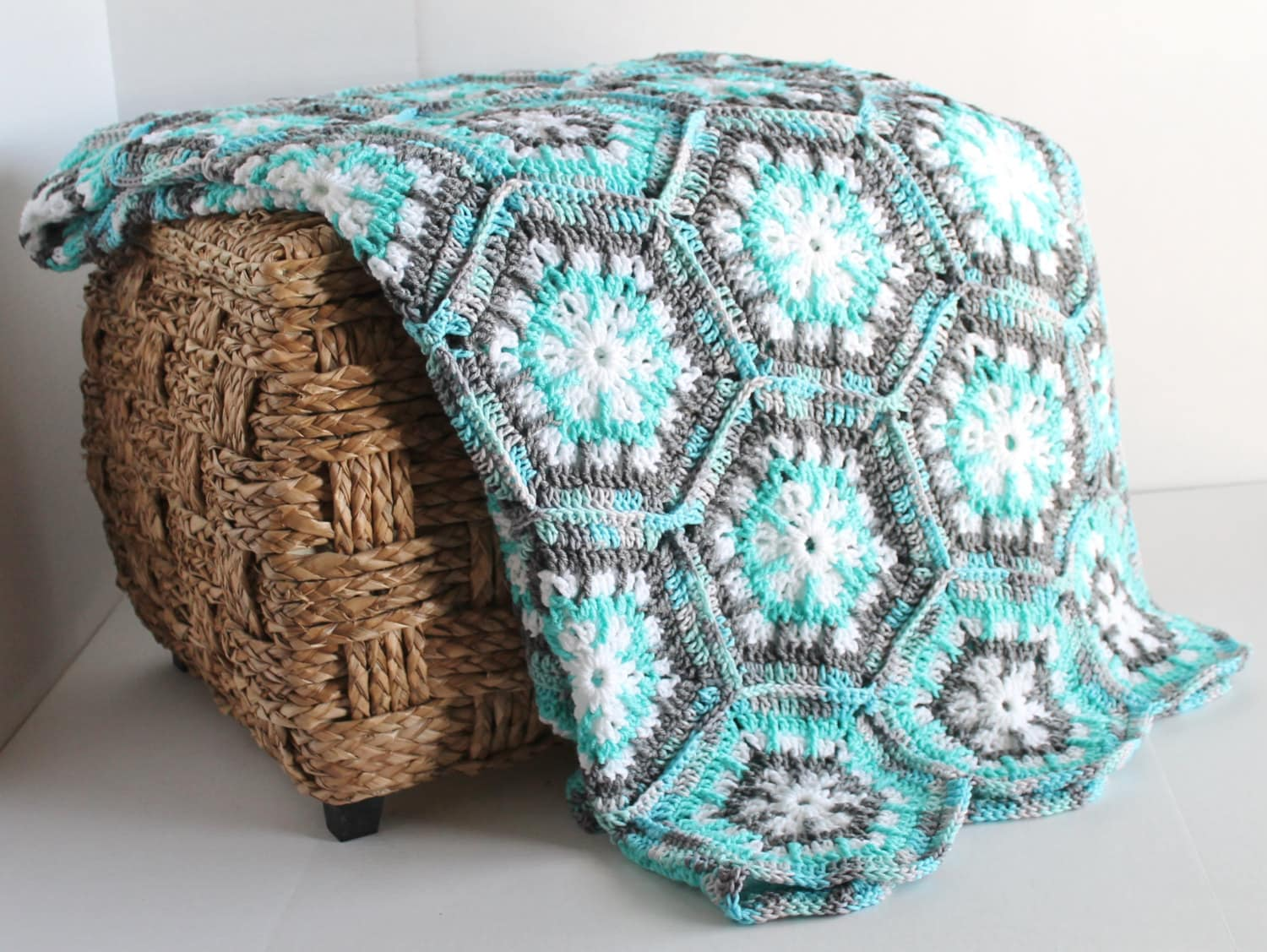 handmade afghan blanket for sale afghan handmade snowflake hexagon crochet blanket aqua 1964