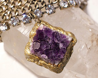 "Large Amethyst ""Statement"" Bracelet with Gold and Rhinestone- Vintage Chain-Pauletta Brooks Wearable Art"