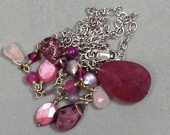 Vintage  Purple and Pink Faceted Bead Necklace
