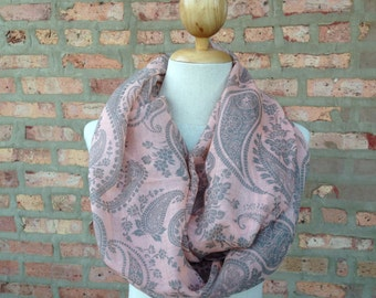 Old Rose Pink Scarf with Flower Paisley Print, Infinity Scarf, Spring Scarf, Women's Scarf