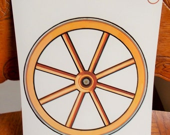 Large Picture Flash Card Wood Wagon Wheel Vintage 1965 Peabody Language Card Paper Ephemera DIY Project Supply US Shipping Included