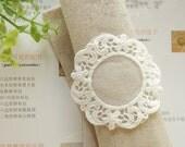 White Vintage Lace Appliqeu Round Patch Venice Lace Applique Clothes Tags 2's
