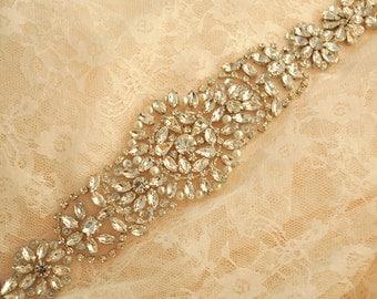 Crystal beaded applique, rhinestone applique for bridal sash, wedding gown belt