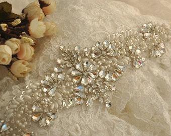 crystal rhinestone applique with pearls for bridal sash, wedding gown, bridal accessories, DIY wedding